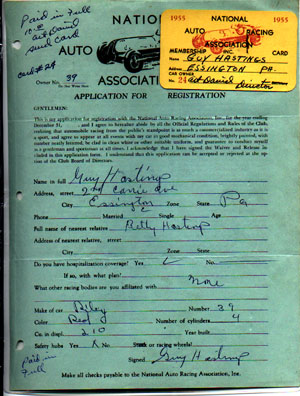 Association Auto  National Racing Season Silly on Actual 1955 National Auto Racing Association Registration For Car 39